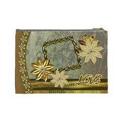 Gold Love3 Floral Cosmetic Bag Lg By Ellan   Cosmetic Bag (large)   M38x1rt6vkwn   Www Artscow Com Back