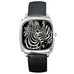 Zebra Square Leather Watch by cutepetshop