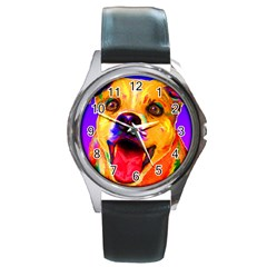 Happy Dog Round Metal Watch (silver Rim) by cutepetshop