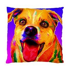 Happy Dog Cushion Case (two Sides) by cutepetshop