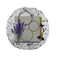 Lavender And Butterfly 15  Cushion By Zornitza   Standard 15  Premium Round Cushion    Sl66ipcpkz5y   Www Artscow Com Front