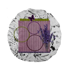 Lavender And Butterfly 15  Cushion By Zornitza   Standard 15  Premium Round Cushion    Sl66ipcpkz5y   Www Artscow Com Back