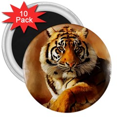 Tiger 3  Button Magnet (10 Pack) by cutepetshop