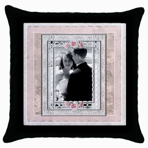 Pretty Pink Throw Pillow Case By Lil    Throw Pillow Case (black)   Nnuqijxccliv   Www Artscow Com Front