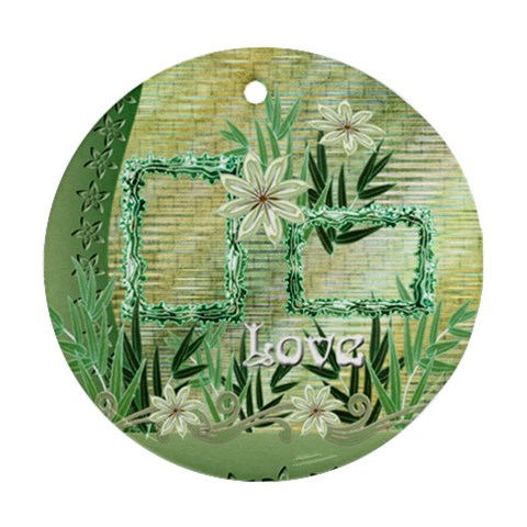Aqua Blue Green Love Floral Round Ornament By Ellan   Ornament (round)   Zqp24pp02hz4   Www Artscow Com Front