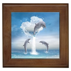 The Heart Of The Dolphins Framed Ceramic Tile by gatterwe