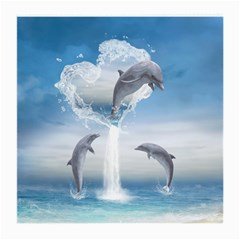 The Heart Of The Dolphins Glasses Cloth (medium, Two Sided) by gatterwe