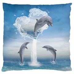 The Heart Of The Dolphins Large Cushion Case (two Sides) by gatterwe