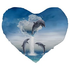 The Heart Of The Dolphins 19  Premium Heart Shape Cushion by gatterwe