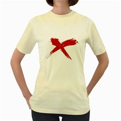 Red X  Womens  T Shirt (yellow) by magann
