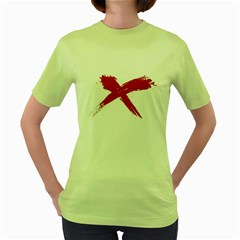 Red X Womens  T Shirt (green) by magann