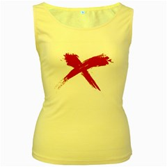 Red X Womens  Tank Top (yellow) by magann