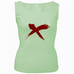 Red X Womens  Tank Top (green) by magann