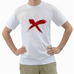 Red X Mens  T Shirt (white) by magann