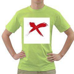 Red X Mens  T Shirt (green) by magann