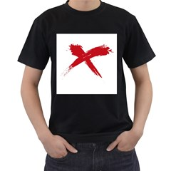 Red X Mens' Two Sided T Shirt (black) by magann