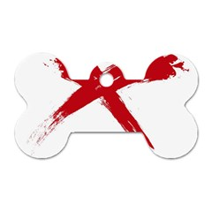 Red X Dog Tag Bone (two Sided) by magann