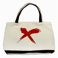 Red X Twin Sided Black Tote Bag by magann