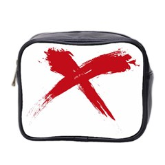Red X Mini Travel Toiletry Bag (two Sides)