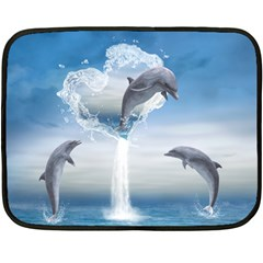 The Heart Of The Dolphins Mini Fleece Blanket (two Sided) by gatterwe