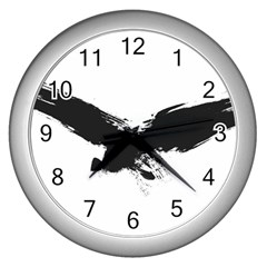 Grunge Bird Wall Clock (silver)