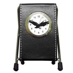 Grunge Bird Stationery Holder Clock by magann