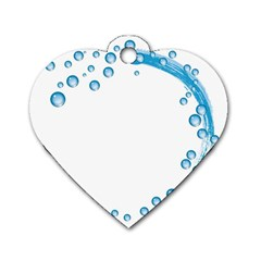 Water Swirl Dog Tag Heart (one Sided)  by magann