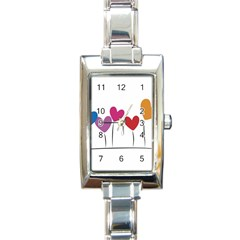 Heart Flowers Rectangular Italian Charm Watch by magann