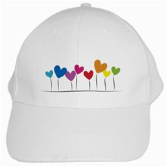 Heart Flowers White Baseball Cap by magann