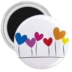 Heart Flowers 3  Button Magnet by magann