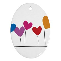 Heart Flowers Oval Ornament by magann
