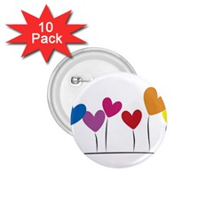 Heart Flowers 1 75  Button (10 Pack) by magann