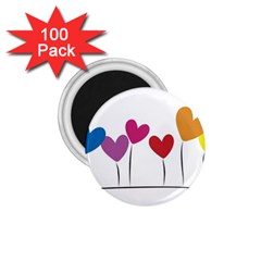 Heart Flowers 1 75  Button Magnet (100 Pack) by magann