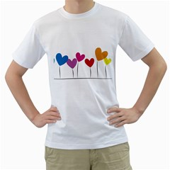 Heart Flowers Mens  T Shirt (white) by magann