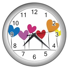 Heart Flowers Wall Clock (silver) by magann