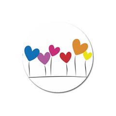 Heart Flowers Magnet 3  (round) by magann