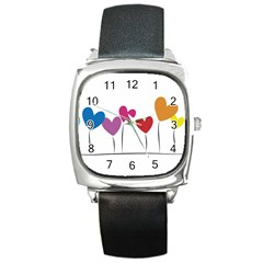 Heart Flowers Square Leather Watch by magann