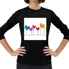 Heart Flowers Womens' Long Sleeve T Shirt (dark Colored) by magann