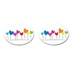 Heart Flowers Cufflinks (oval) by magann