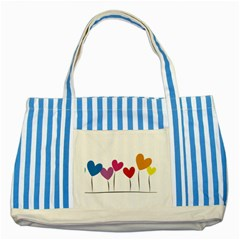Heart Flowers Blue Striped Tote Bag by magann