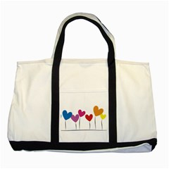 Heart Flowers Two Toned Tote Bag by magann