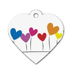 Heart Flowers Dog Tag Heart (two Sided) by magann