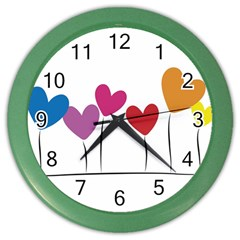 Heart Flowers Wall Clock (color) by magann
