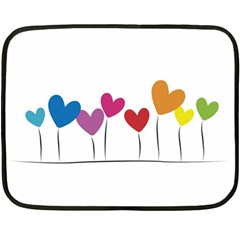 Heart Flowers Mini Fleece Blanket (two Sided) by magann