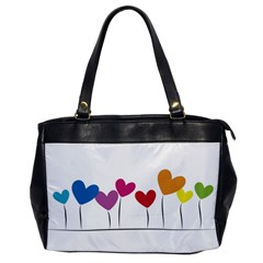 Heart Flowers Oversize Office Handbag (one Side) by magann