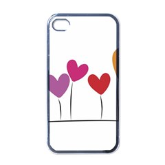 Heart Flowers Apple Iphone 4 Case (black) by magann