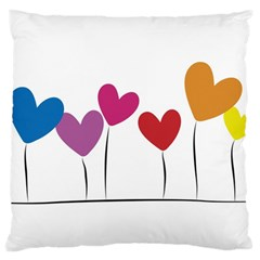 Heart Flowers Large Cushion Case (two Sides) by magann
