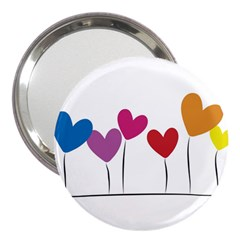Heart Flowers 3  Handbag Mirror by magann
