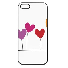 Heart Flowers Apple Iphone 5 Seamless Case (black) by magann