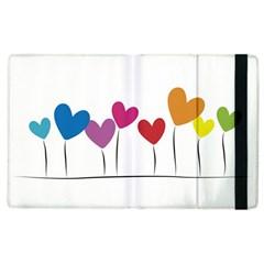Heart Flowers Apple Ipad 2 Flip Case by magann